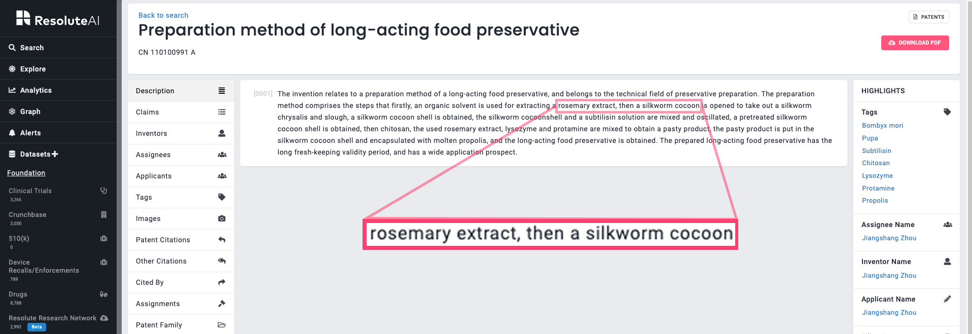 Rosemary and silkworm use in preservatives