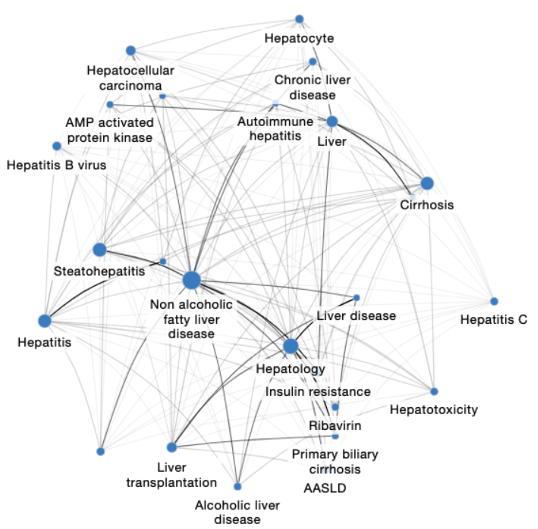 Knowledge graph of NAFLD with associated areas of research, relationships between those areas, and strength of those connections